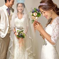 Free Shipping 2013 princess bride long-sleeve slim fish tail train wedding dress formal dress maternity plus size