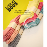 Monkey 2013 candy color high quality towel cotton thermal thickening knee-high socks