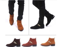 Free shipping men's boots 2013 new men's trend fashion pointed toe flats heels winter boots,wholesale,hot