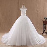 Free Shipping Luxury big 2014 princess tube top bandage wedding dress white train wedding dress lace