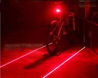 Free MAIL Bicycle Laser Tail Light Waterproof Road Bike Safety Warning Back Rear Led Red Light Flashlight Lamp - 5 LED + 2 LASER