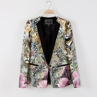 Women's new arrival fashion vintage animal 2013 doodle suit outerwear female