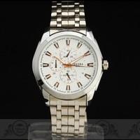 2014 Classic Steel Case mens Quartz watch Multi-Sub Dial Deco Steel Band Japan Quartz Movement wristwatch Free Ship