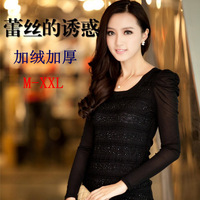 2013 basic shirt long-sleeve lace gauze low collar t-shirt female plus size top plus velvet thickening