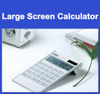Brand new Deli double power large screen calculator, high quality 1256 ultra-thin fashion type computer