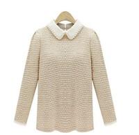 2013 Fashion warm pullover women sweater women Vintage Knitwear Long sleeve Suit collar neck wool oversized knitted sweaters