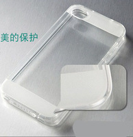 Wholesale Bulk Price, Segmented  Soft TPU Clear Cases for Iphone4 4S with Dust Plug TPU Transparent  Clear Case, Free Shipping