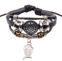 New Arrive Fish Bone Pendant Hollow Out Sunflower Black Multilayer Leather Bracelet  Free Shipping RuYiSLQ201