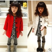 Female child long-sleeve outerwear rose button medium-long fashion top