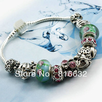 silver bracelet-APB111-Charm Chamilia Bracelet Drop Shipping 925 Tibetan Silver Glass For Women Fashion European Style Jewelry