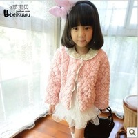 Winter 2013 thickening small princess laciness female child outerwear