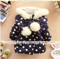 free shipping   2013 winter children's wear white dots on  back big bowknot is super thick cotton-padded clothes tong  wholesale