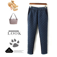 Fashion thermal denim patchwork flock printing trousers basic thermal cotton-padded trousers