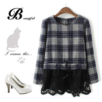 Double 12 popular lace sweep patchwork check woolen skirt fashion elegant