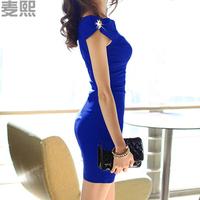 Intellectuality 2013 solid color slim hip skirt fashion high quality ladies elegant ol elegant one-piece dress summer