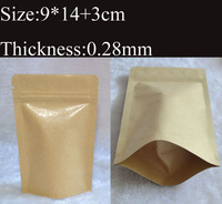 9*14cm,200pcs/lot,Zipper/zip lock Kraft paper bag,Aluminum foil inside kraft bag,gift/coffee/tea/Snack/blank brown kraft bag