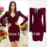 Free Shipping Autumn New Wine Red V-neck Long-sleeved Pleats Slim Sheath Dress