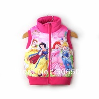 HOT SALE Free Shipping 4pcs/lot newest Autumn Winter Cotton Cartoon Baby Girl Vest Kids Overcoat Baby Clothes 2colors 2217