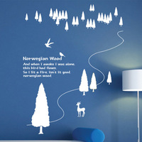 (Minimum order $5,can mix)(Various Colors) Decor Xtmas trees and elk Removable Bed Room Art Mural Vinyl Wall Sticker Decal Y1471