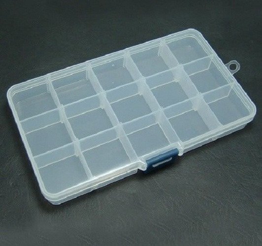 15 Slot Jewelry Rectangle Display Storage beads Organizer Case Box 4pcs