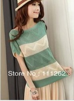 Free Shipping Female Hollow Out Bats Thin Striped Sweater With Short Sleeves 5 Color