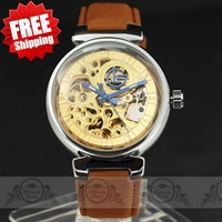 Luxury Stainless Bezel Hollow Golden Vintage Pattern Dial mens automatic watch Leather Band mechanical wristwatch Best Gift!2013