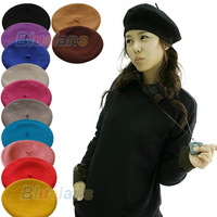 New Fashion Solid Color Warm Wool Winter Women Girl Beret French Artist Beanie Hat Ski Cap 12 Colors 04WS