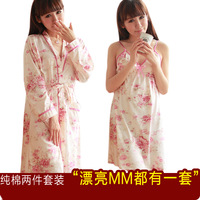 Sweet lovely nightgown female 100% long-sleeve cotton robe twinset autumn and winter sexy spaghetti strap nightgown 100% cotton