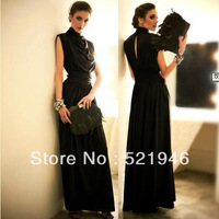 2013 women's fashion slim waist slim stand collar ultra long one-piece dress long skirt evening dress