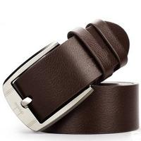 Business genuine leather men belt cowskin belts for men casual spot Genuine Leather Premium Textured Metal Buckle Belt