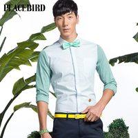 Peacebird men's clothing spring male fashion stripe long-sleeve shirt slim b2ca31310a0