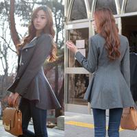 New Fashion Women Korean Dovetail Slim Wool Coat Ladies Designer Irregular Long Blazer Winter Outwear Windbreaker Female