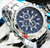 Hot Selling Men Silver Stainless Steel Band Round Black/White/Blue Dial Analog Quartz Watches / Men Wristwatches / Holiday Gift