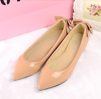 Korean version of the new patent leather bow pointed flat shoes wild