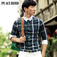 Peacebird men's clothing half sleeve shirt male polka dot fifth sleeve shirt b2cb32816b4