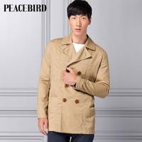 Peacebird men's clothing male medium-long fashion trench hb01232019