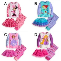 5 sets/ lot Cartoon Minnie Style baby Girl Clothing Sets Baby Pajamas Sets ( T-shirt + Pants +Skirt )