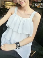 Fosses small beautiful ruffle chiffon spaghetti strap top vest female