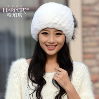 Sweet rex rabbit hair fur hat female raccoon thermal winter toe cap covering cap