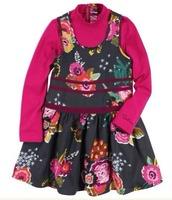 2014 new style children long sleeve t shirt + tank dress 2 pcs set,7suits/lot,good quality