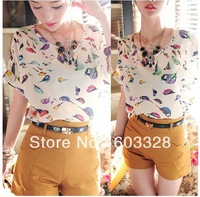 Women Girls Bird Graphic Print Batwing Sleeve Casual Chiffon Tops Blouse Shirt