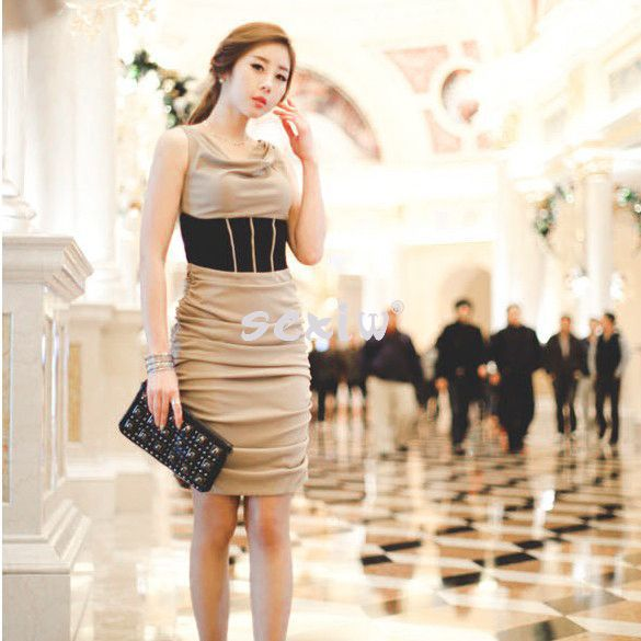 New Fashion Style Women's Lady Korea Sexy Slim Fitting Sleeveless Dress Comfortable Milk Silk Drop shipping 3994(China (Mainland))