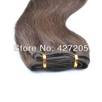 3pcs/Lot Brazilian Virgin Hair Extensions Natural Straight Hair Weaves Mixed Length Available 12-24 Inch Color 4 # Medium Brown