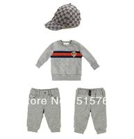 New arrival! 7-24months fashion newborns cotton BRANDs baby boys 3 pcs set shirt+hat+PANTts sports suit kid clothes retail