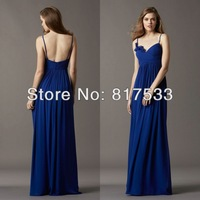 Sweetheart Neckline With Spaghetti Straps Pleated Wrap Bodice With Floral Detail Chiffon Long Bridesmaid Dresses