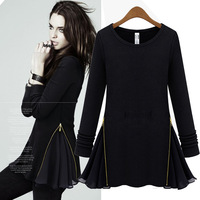 free shipping  2013 autumn faux two piece plaid color block decoration long-sleeve skirt plaid o-neck winter dress