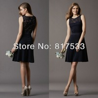 Boat Neckline Knee Length Black Sash A-line Style Sleeveless Sheer Lace-covered Back Lace Wedding Guest Gowns Bridesmaid Dresses