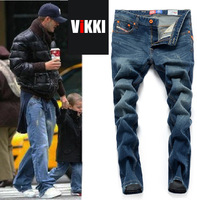 New Arrival 2013 men's top brand Hole Korean straight cylinder silm jeans fashion desigher jeans