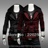 2014 Autumn fall double pocket slim tip contrast color ASSASSINS CREED HOODIE MEN,ASSASSINS CREED COSTUME leisure mens hoodies