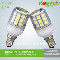 6Pcs/Lot High Power 5.5W 5050 SMD E14 30 LED light Bulb Lamp Cool White /Warm White With Cover 200V-240V free shipping